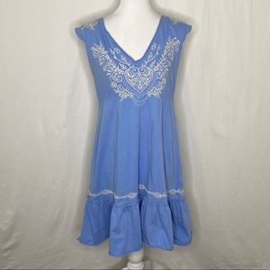 Johnny Was Heart Embroidery Blue Sleeveless Dress